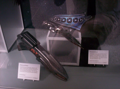 Star Trek: The Exhibition display case with Romulan disruptor and Shinzon's knife