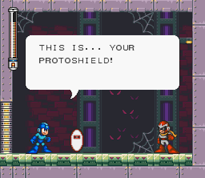 Mega Man obtains Proto Man's shield in Mega Man 7