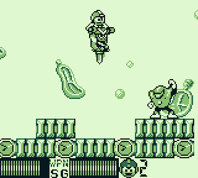 Using Sakugarne, the pogo stick weapon, in the final stage of Mega Man II