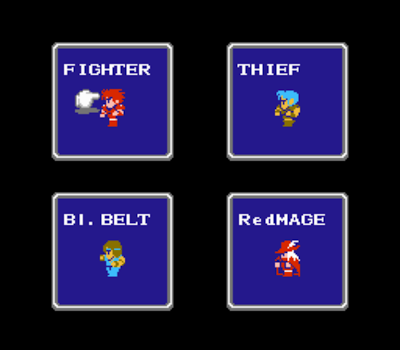 Original Final Fantasy character selection screen
