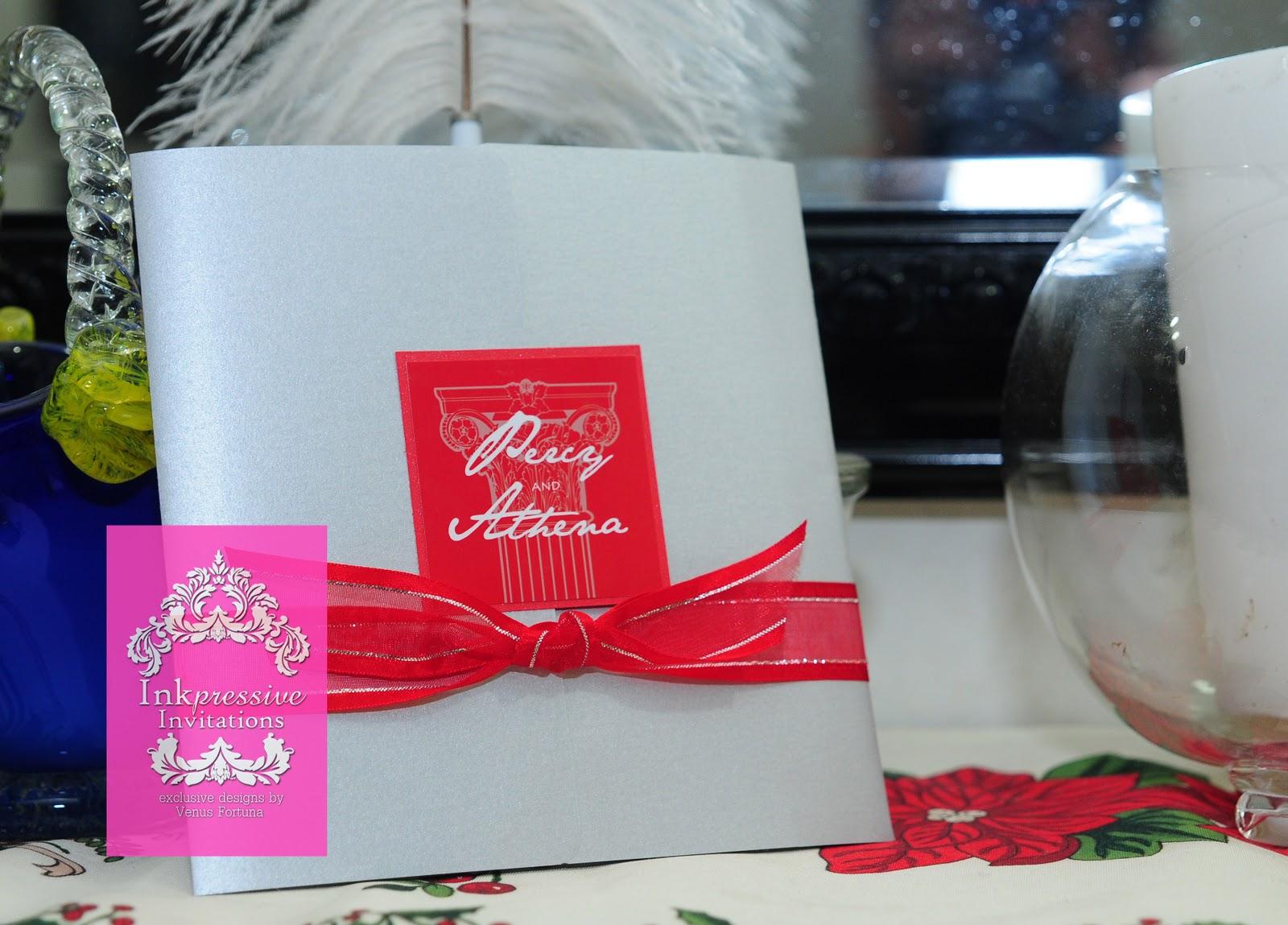 Red Silver Greek wedding invitation   INKPRESSIVE INVITATIONS