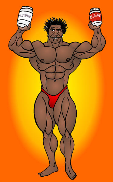 ROBBY ROBINSON AND HIS SUPPLEMENTS  MUSCLE ANIMATION BY ART BINNINGER ● www.robbyrobinson.net/motivation.php ●