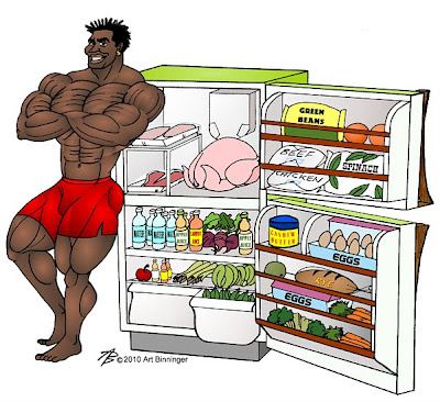 ROBBY ROBINSON'S DIET - BODYBUILDER AND HIS FRIDGE MUSCLE BUILDING ANIMATION BY ART BINNINGER Robby's dietary anabolic SUPPLEMENTS, OILS and HERBS  for natural fat loss and muscle growth at any age  ▶ www.robbyrobinson.net/anabolic-pack.php
