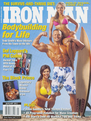 COVER OF IRON MAN MAG JAN 2011  WITH ROBBY ROBINSON'S INTERVIEW Robby's CONSULTATION Services to answer your questions  about bodybuilding, old school training and healthy lifestyle -  ▶ www.robbyrobinson.net/consultation.php