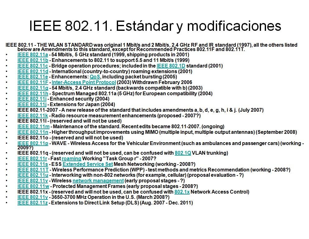 Redes Fran-Cisco: Wi-Fi: Estándares IEEE 802.11