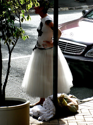 She told us it was the skirt from her wedding dress which was a vintage