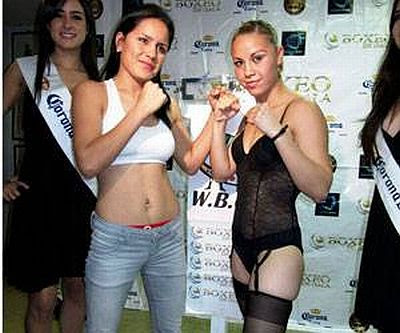 Here's a picture of Zulina (on the right) and Yasmin at the weigh in