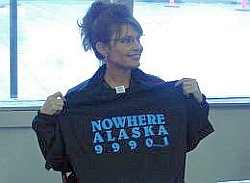 Sarah Palin touts her support for the Bridge to Nowhere.