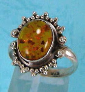 Sterling Silver Amber Ring Size 9  $30