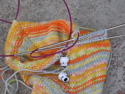 stripey sock on the needles