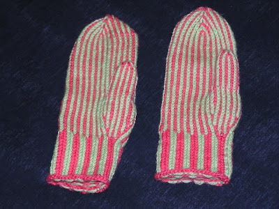 picture of two striped mittens