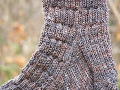 close up of the heel area of a sock