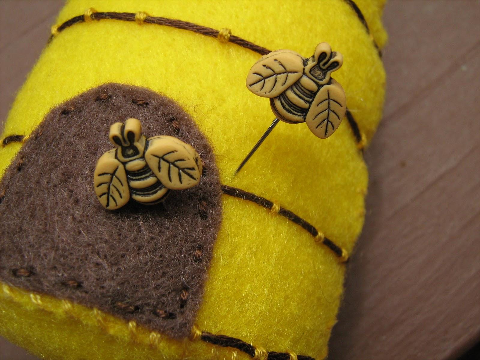 fowl single file a bee hive pincushion for grandma