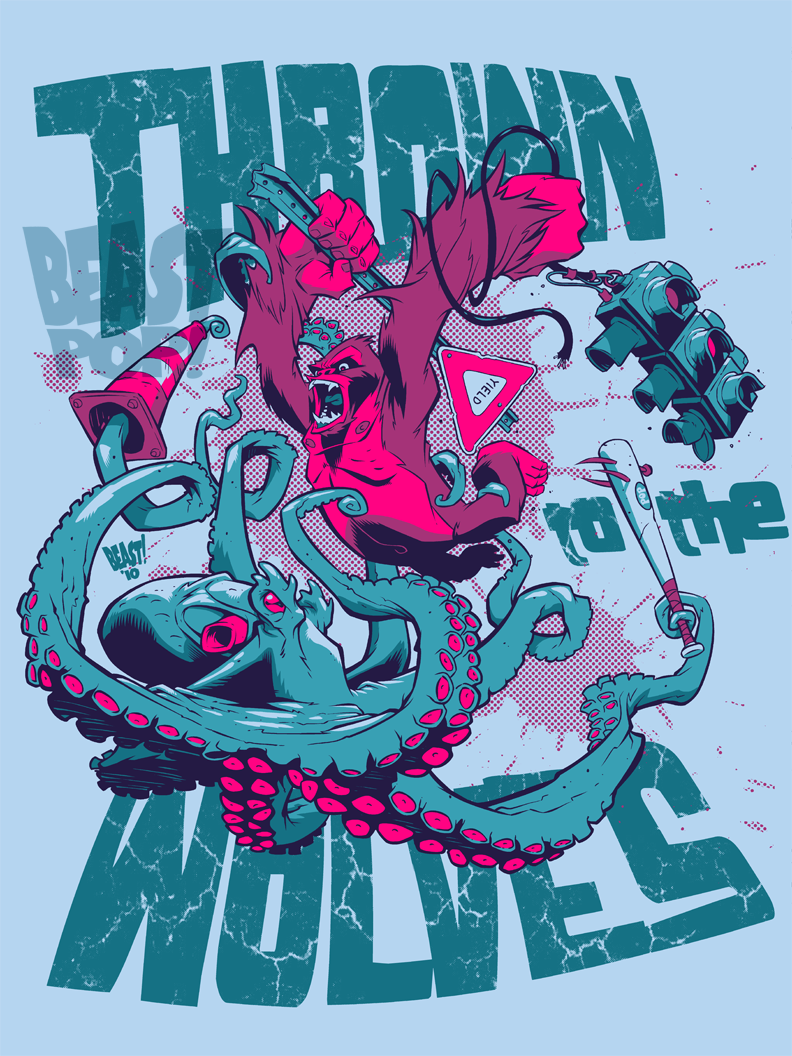 Shirt design octopus - Worked Up This Shirt Design For Super Excellent Band Thrown To The Wolves Using A Modified Gorilla Vs Octopus Illustration