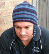 Ear-flap hat, easy knit pattern