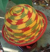 Travel headwear: Crochet hats, multi-colored bucket shape with brim