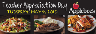 applebees teacher appreciation day free meal