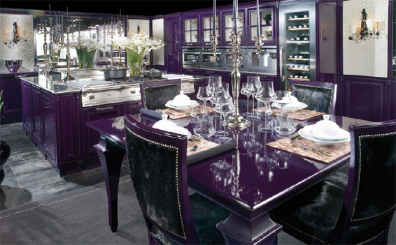luxurious kitchen purple, luxurious kitchen, kitchens design, kitchens