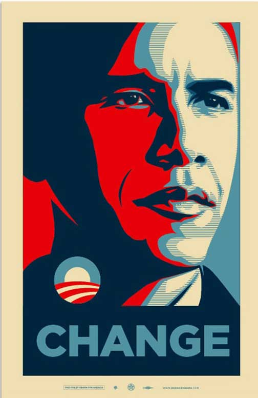 In this video Shepard Fairey talks to Bill Whitaker about politics and    Obama Campaign Poster Official