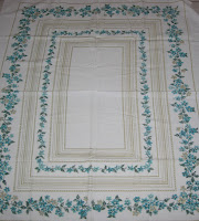 Gold Metallic Paint Turquoise Floral Vintage Tablecloth