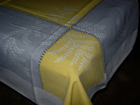 Vintage Tablecloth Yellow Grey with Wheat