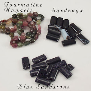Watermelon Tourmaline, Sardonxy and Blue Sandstone Gemstone Beads from Bead Show
