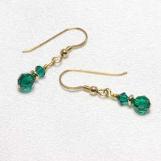 May Birthstone Earrings -Stacked Emerald Swarovski Crystal Earrings (E044)