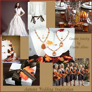 Autumn Wedding Inspiration Board featuring Sarah's Custom Bridesmaids Necklace Jewelry Sets by Crystal Allure