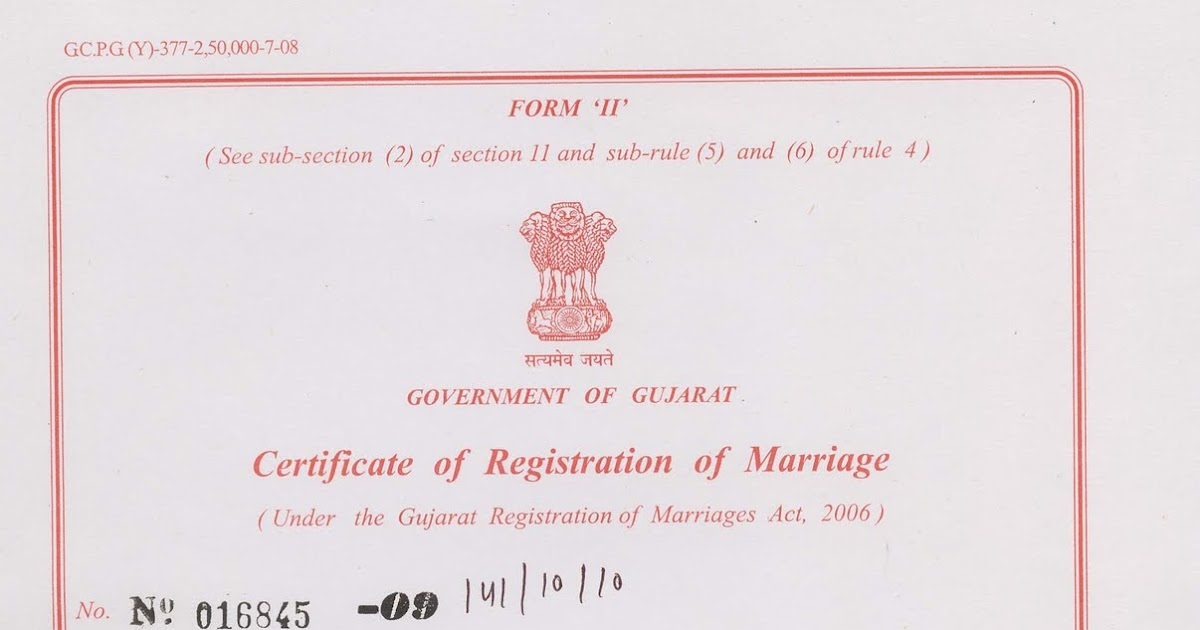 Marriage Certificate India Online Gujarat Image Gallery - Hcpr