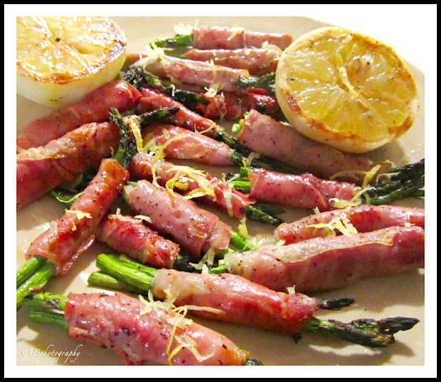 Grilled Prosciutto-Wrapped Asparagus w/ Lemon~