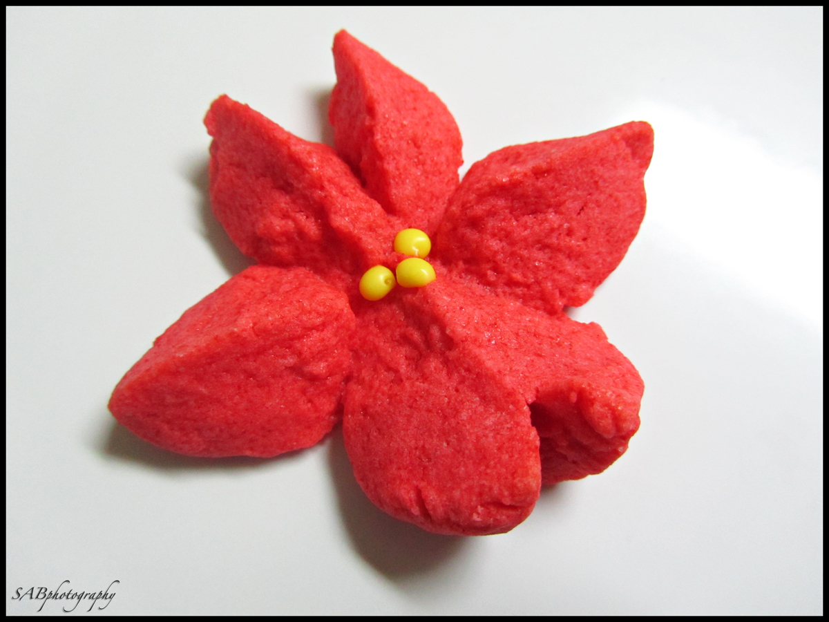 Raspberry Poinsettia Cookies~