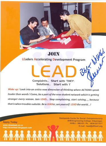 Sharman joshi from 3 idiots, autograph to LEAD program, hubli