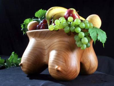 Erotic Furniture - carved breast fruit bowl