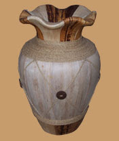 Antique Flowers Vase from banana with a model for waves on the vase