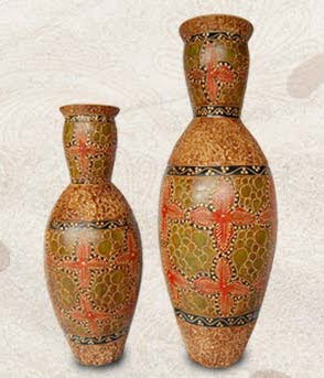 Antique Batik Vases, clay handicraft, Homemade handicraft