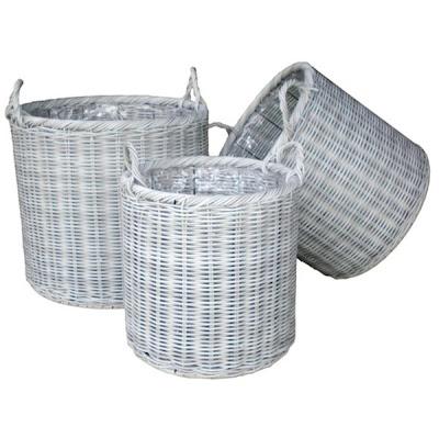Antique white wicker basket, Basket, Collection, natural handicraft, Natural Rattan