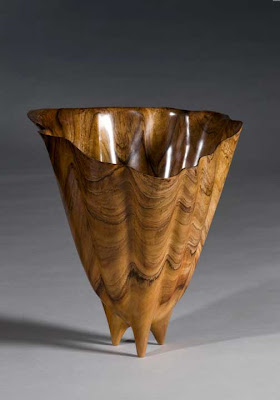 Antique Natural Wood Vase