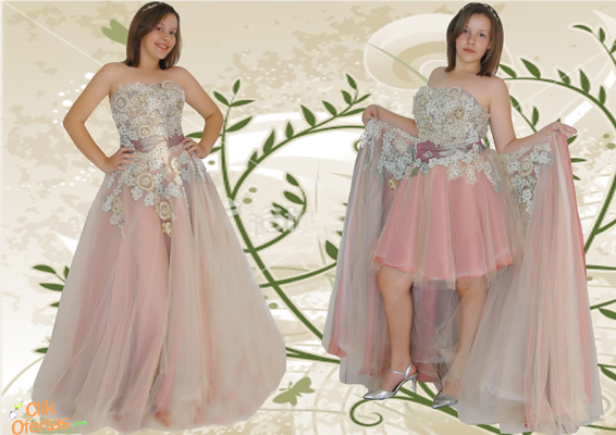 Vestidos de debutantes 2 em 1 branco