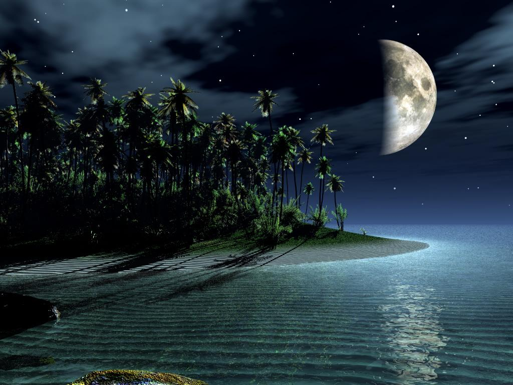 new night moon Landscape, Lakes, Mountains, Nature Wallpapers, 3D Landscape