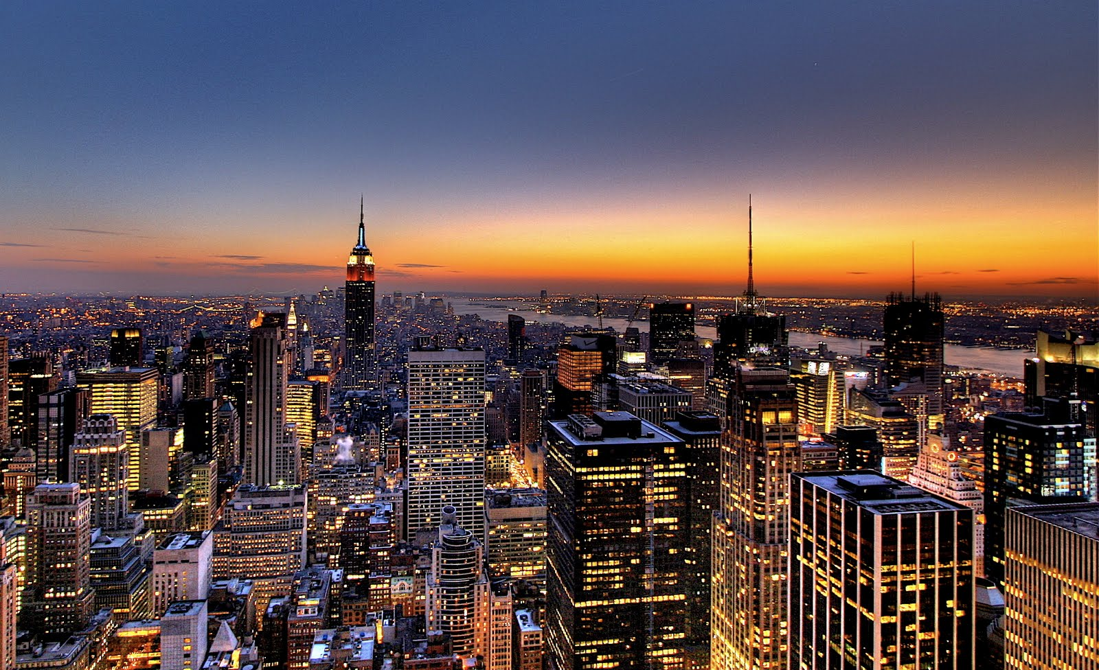 New York City Skyline - Sunset Wallpaper | Hd Desktop ...