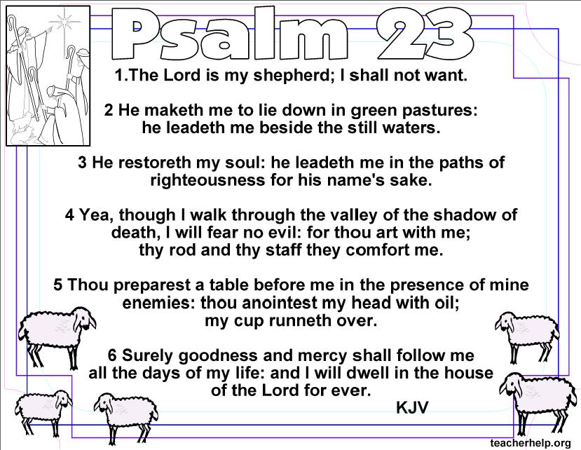 Psalm 23 Bible Quotes 1 The Lord is my Shepherd I shall not want