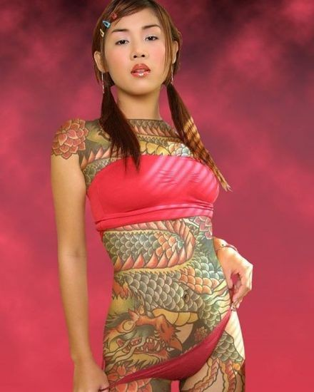 Special Star Tattoo Design Upper Back Girl Sexy Female Tattoos Pictures With