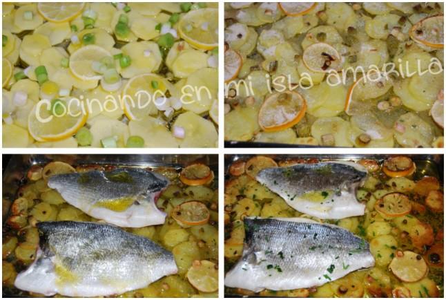 Dorada al horno con patatas y limón