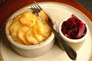Northern delicacy, Lancashire Hotpot with obligatory Red Cabbage