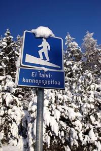 Ei talvikunnossapitoa liikennemerkki talvella - Kuvatoimisto Albumi - www.albumi.fi
