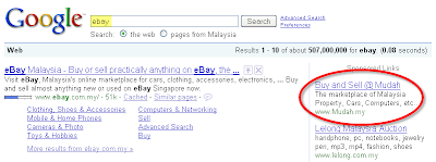 Google Search by Ebay Showing Mudah Ads