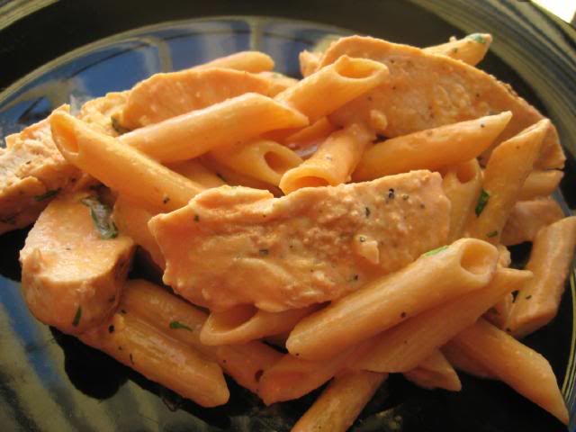 Bishop Family Recipes: Grilled Chicken Pasta in a Tomato Cream Sauce