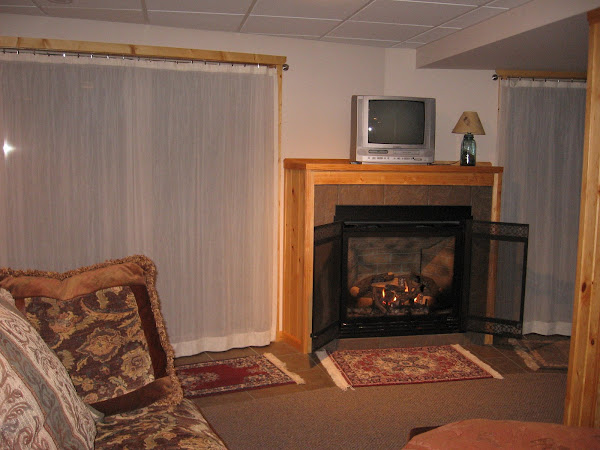 Lower level gas fireplace with view of lake