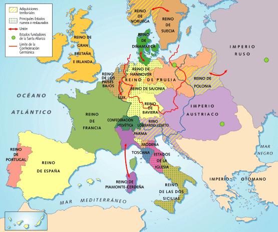 El blog de Paco Mapa de Europa despus del congreso de Viena