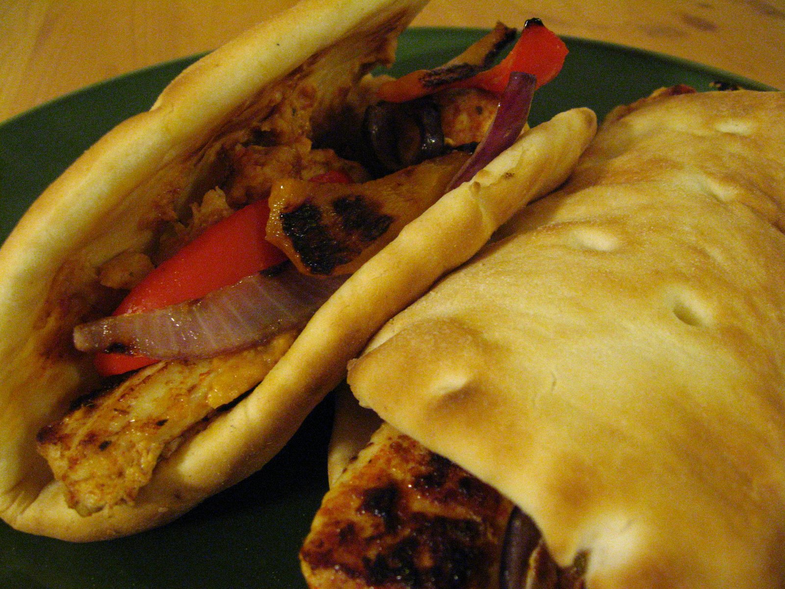 Israeli Spice Chicken Pita with Sun Dried Tomato Hummus
